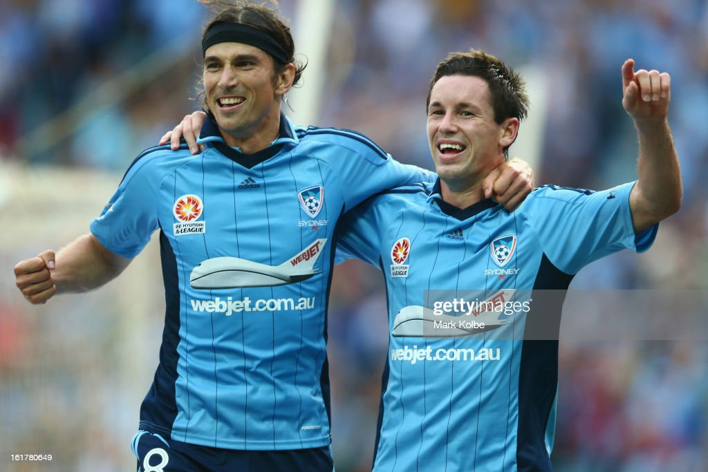 Adam Griffiths of Sydney FC and Blake Powell of Sydney FC celebrate after Powell scored a goal during the round 21 A-League match between Sydney FC and Adelaide United at Allianz Stadium on February 16, 2013 in Sydney, Australia.