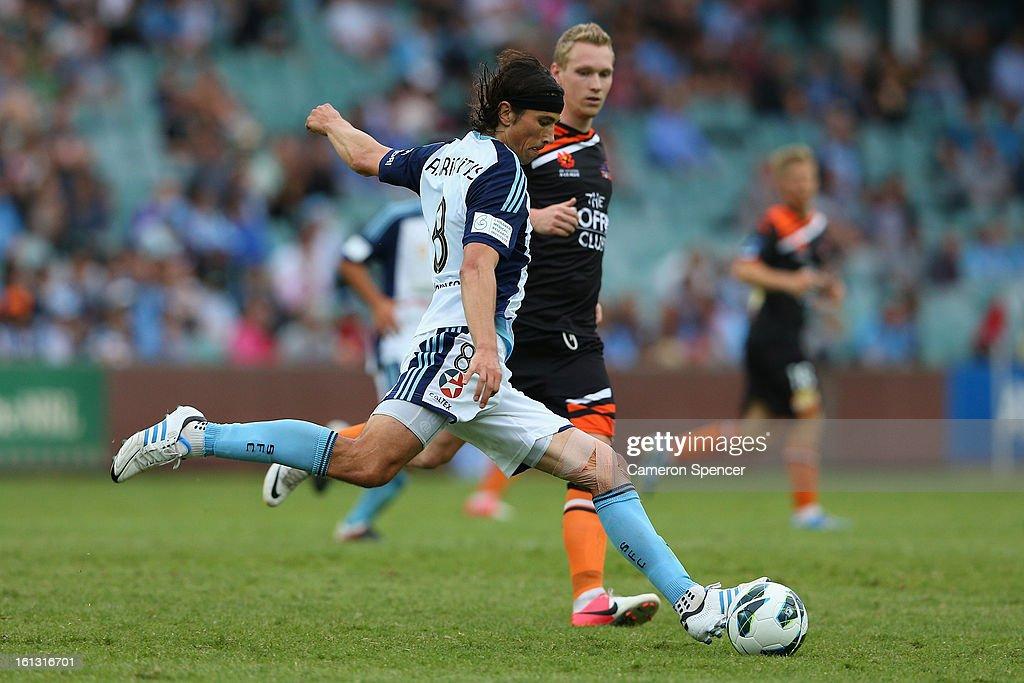 Adam Griffiths of Sydney FC kicks during the round 20 A-League match between Sydney FC and the Brisbane Roar at Allianz Stadium on February 10, 2013 in Sydney, Australia.