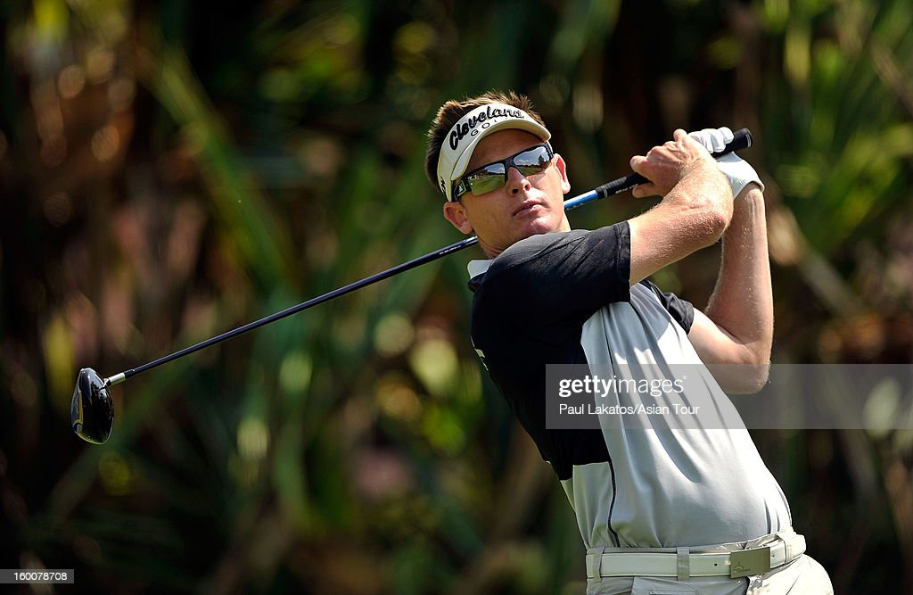 <a gi-track='captionPersonalityLinkClicked' href=/galleries/search?phrase=Adam+Groom&family=editorial&specificpeople=2345217 ng-click='$event.stopPropagation()'>Adam Groom</a> of Australia plays a shot during round four of the Asian Tour Qualifying School Final Stage at Springfield Royal Country Club on January 26, 2013 in Hua Hin, Thailand.