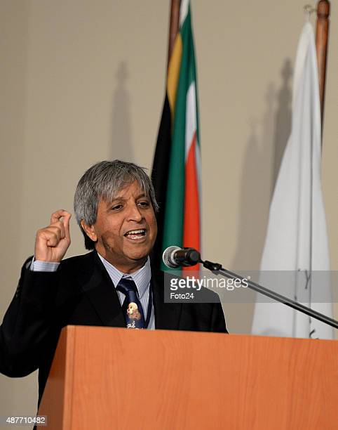 Adam Habib speaks at the reveal of the discovery of a new species of human relative Homo Naledia at The Cradle of Human Kind on September 10 2015 at...