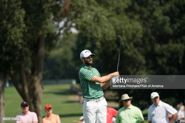Adam Hadwin of Canada hits his tee shot on the eighth hole during Round Two for the 99th PGA Championship held at Quail Hollow Club on August 11 2017...