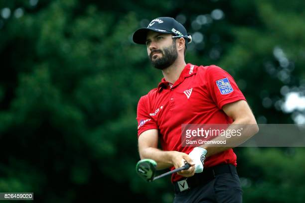 Adam Hadwin of Canada hits off the 17th tee during the second round of the World Golf Championships Bridgestone Invitational at Firestone Country...