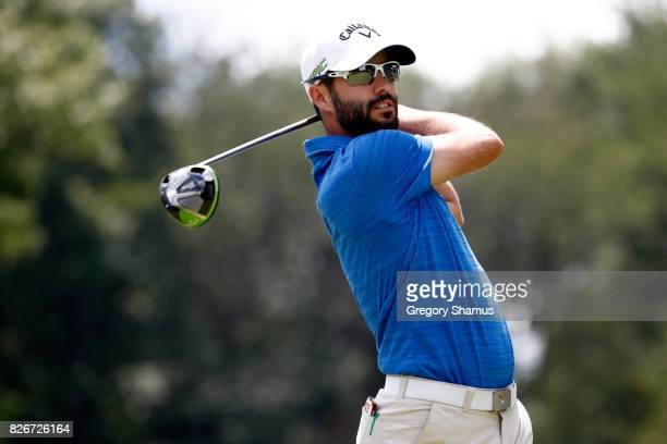 Adam Hadwin of Canada hits off the third tee during the third round of the World Golf Championships Bridgestone Invitational at Firestone Country...