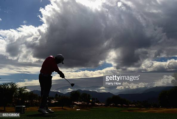 Adam Hadwin of Canada plays his shot from the eighth tee during the final round of the CareerBuilder Challenge in partnership with The Clinton...