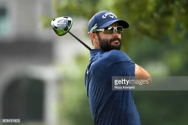 Adam Hadwin of Canada plays his shot from the second tee during the first round of the 2017 PGA Championship at Quail Hollow Club on August 10 2017...