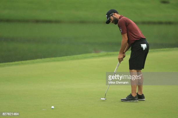 Adam Hadwin of Canada putts during a practice round prior to the 2017 PGA Championship at Quail Hollow Club on August 8 2017 in Charlotte North...
