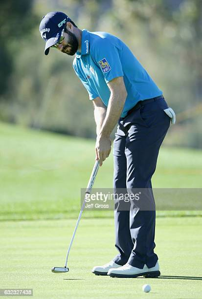 Adam Hadwin of Canada putts on the 16th hole during the third round of the CareerBuilder Challenge in Partnership with The Clinton Foundation at La...