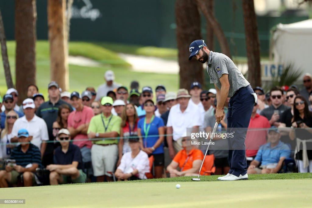 Adam Hadwin of Canada putts on the 17th green during the final round of the Valspar Championship at Innisbrook Resort Copperhead Course on March 12, 2017 in Palm Harbor, Florida.