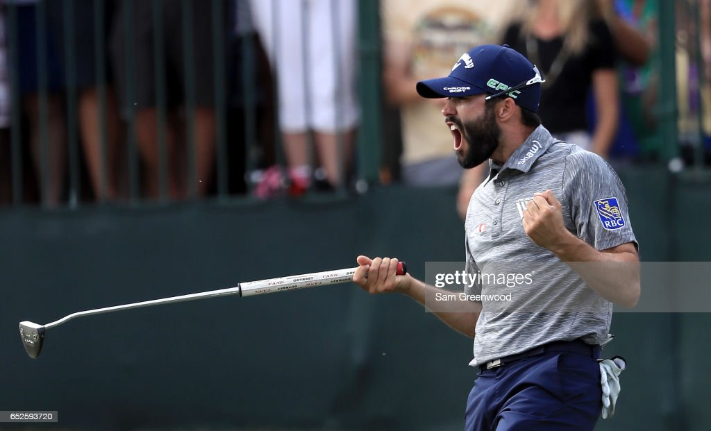 Adam Hadwin of Canada reacts on the 18th green after winning the Valspar Championship during the final round at Innisbrook Resort Copperhead Course on March 12, 2017 in Palm Harbor, Florida. Hadwin won with a score of -14.