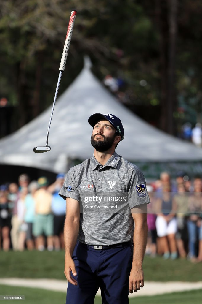 Adam Hadwin of Canada reacts to a missed putt on the 16th green during the final round of the Valspar Championship at Innisbrook Resort Copperhead Course on March 12, 2017 in Palm Harbor, Florida.
