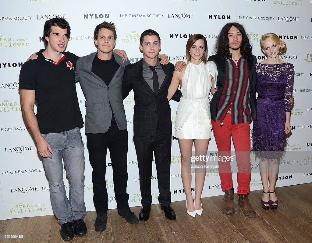 Adam Hagenbuch, Johnny Simmons, Logan Lerman, Emma Watson, Ezra Miller and Erin Wilhelmi attend The Cinema Society with Lancome & Nylon screening of 'The Perks of Being a Wallflower' at the Crosby Street Hotel on September 13, 2012 in New York City.