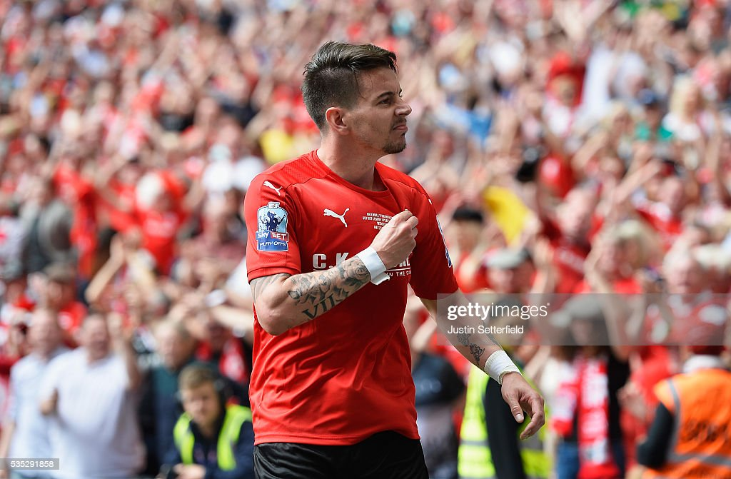 Adam Hammill of Barnsley FC celebrates scoring the 2nd goal during the Sky Bet League One Play Off Final between Barnsley and Millwall at Wembley Stadium on May 29, 2016 in London, England.