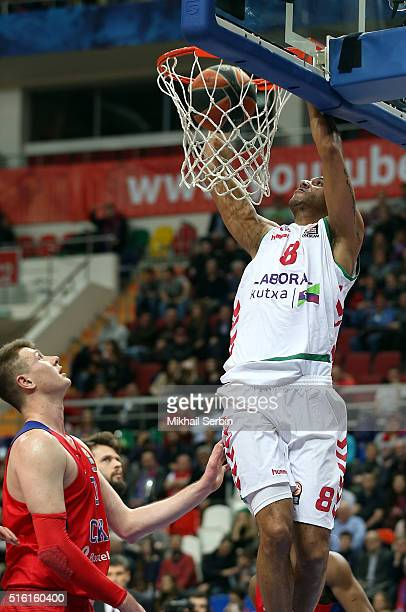 Adam Hanga #8 of Laboral Kutxa Vitoria Gasteiz competes with Andrey Vorontsevich #20 of CSKA Moscow in action during the 20152016 Turkish Airlines...