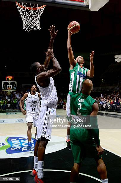 Adam Hanga of Sidigas competes with Okaro White of Granarolo during the LegaBasket serie A1 match between Virtus Granarolo Bologna and Sidigas...