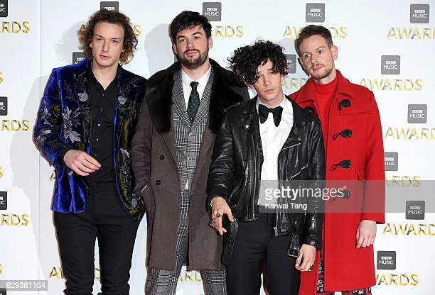 Adam Hann Matthew Healy George Daniel and Ross MacDonald of The 1975 attend the BBC Music Awards at ExCel on December 12 2016 in London England