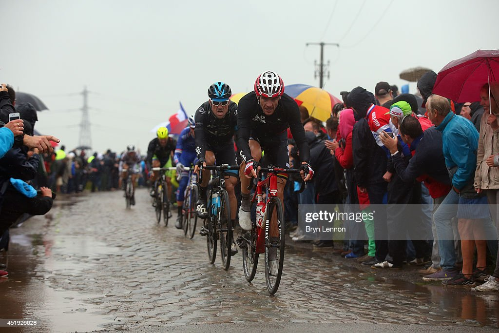 <a gi-track='captionPersonalityLinkClicked' href=/galleries/search?phrase=Adam+Hansen&family=editorial&specificpeople=4105944 ng-click='$event.stopPropagation()'>Adam Hansen</a> of Australia and Lotto-Belisol (R) leads Bernhard Eisel of Austria and Team SKY in action during the fifth stage of the 2014 Tour de France, a 155km stage between Ypres and Arenberg Porte du Hainaut, on July 9, 2014 in Porte du Hainaut, France.