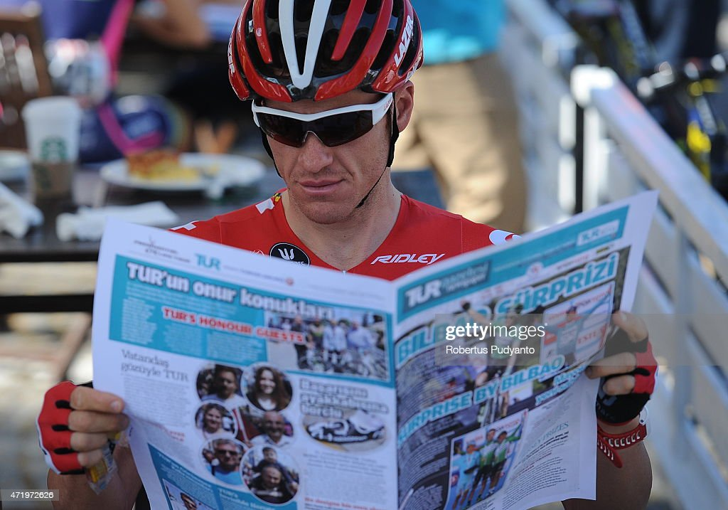 <a gi-track='captionPersonalityLinkClicked' href=/galleries/search?phrase=Adam+Hansen&family=editorial&specificpeople=4105944 ng-click='$event.stopPropagation()'>Adam Hansen</a> of Lotto Soudal reads the newspaper during the Stage 7 of the 51st Presidential Cycling Tour of Turkey 2015, Selcuk - Izmir (166 km) on May 2, 2015 in Selcuk, Turkey.