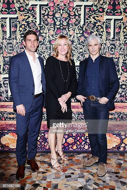 Adam Hargis Lisa Howard and Tom Delavan attend the T Celebration of Culture Issue And Milan Design Week at Palazzo Crespi on April 11 2016 in Milan...