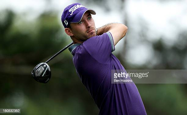 Adam Harnett of Worldham Park Golf Club tee's off on the 3rd hole during the Regional Final of the Virgin Atlantic PGA National ProAm Championship at...