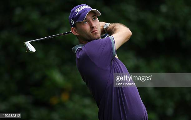 Adam Harnett of Worldham Park Golf Club tee's off on the 4th hole during the Regional Final of the Virgin Atlantic PGA National ProAm Championship at...
