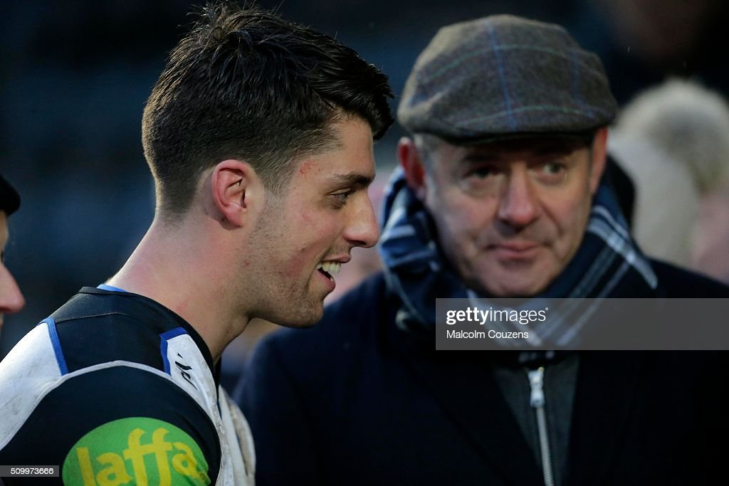 Adam Hastings of Bath Rugby is greeted by his father <a gi-track='captionPersonalityLinkClicked' href=/galleries/search?phrase=Gavin+Hastings&family=editorial&specificpeople=2932129 ng-click='$event.stopPropagation()'>Gavin Hastings</a>, the former Scotland full-back following the Aviva Premiership match between Worcester Warriors and Bath Rugby at Sixways Stadium on February 13th, in Worcester, England