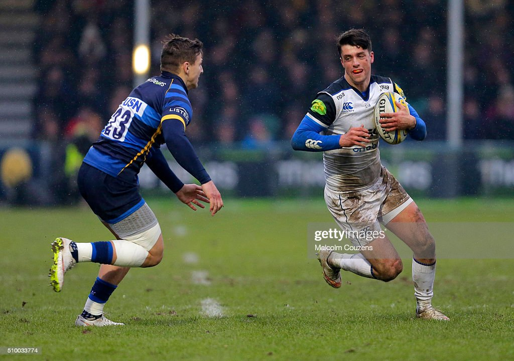 Adam Hastings of Bath Rugby takes on Ryan Mills of Worcester Warriors during the Aviva Premiership match between Worcester Warriors and Bath Rugby at Sixways Stadium on February 13, in Worcester, England