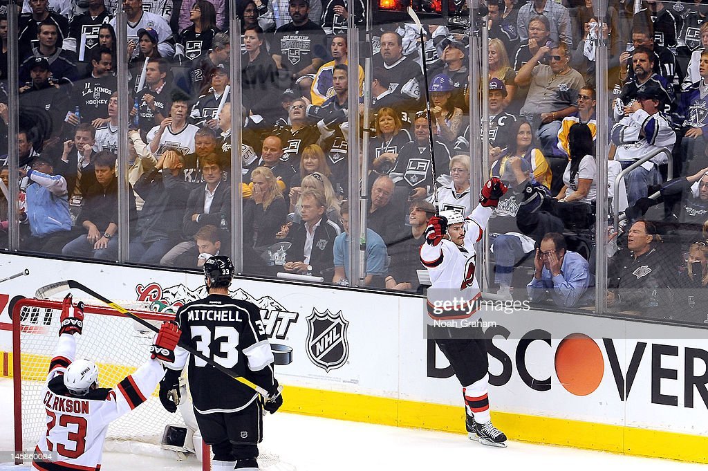 Adam Henrique #14 of the New Jersey Devils reacts after scoring the game winning goal against the Los Angeles Kings in Game Four of the 2012 Stanley Cup Final at Staples Center on June 6, 2012 in Los Angeles, California.