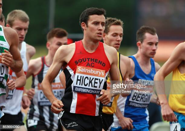 Adam Hickey in the mens 5000m during the Sainsbury's British Championships at the Alexander Stadium Birmingham