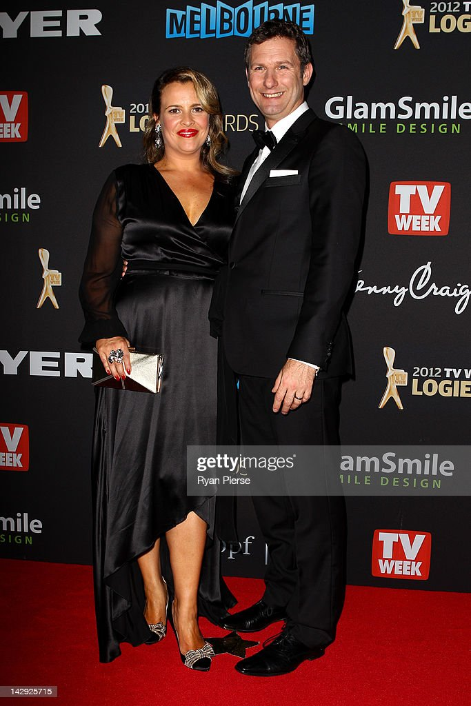 Adam Hills and his wife Ali McGregor arrive at the 2012 Logie Awards at the Crown Palladium on April 15, 2012 in Melbourne, Australia.
