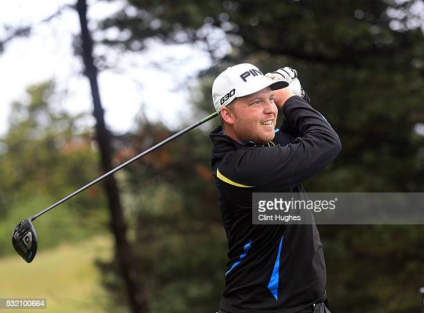 Adam Hodkinson of ChorltonCum Hardy Golf Club plays a tee shot at the first hole during the PGA Assistants Championship North Qualifier at Hesketh...