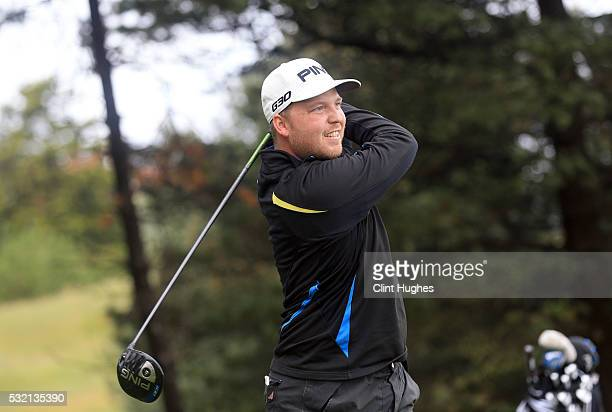 Adam Hodkinson of ChorltonCum Hardy Golf Club plays a tee shot on the first hole the PGA Assistants Championship North Qualifier at Hesketh Golf Club...