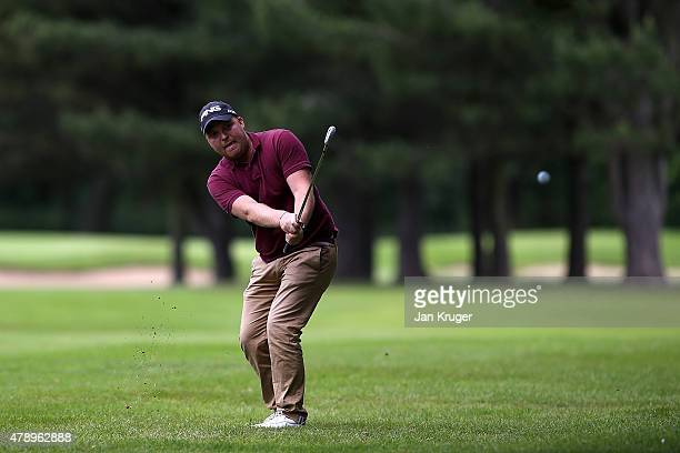 Adam Hodkinson of ChorltonCumHardy GC in action during the Galvin Green PGA Assistants' Championship North Qualifier at Penwortham Golf Club on June...