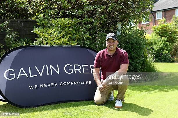 Adam Hodkinson of ChorltonCumHardy GC poses after carding lowest score during the Galvin Green PGA Assistants' Championship North Qualifier at...