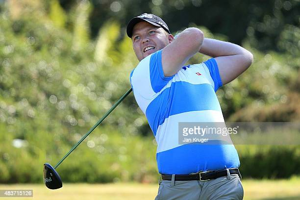 Adam Hodkinson of ChorltonCumHardy GC tees off during day one of the Golfbreakscom PGA Fourball Championship Final at De Vere Carden Park Hotel on...
