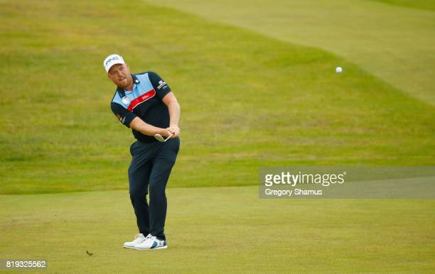 Adam Hodkinson of England chips onto the 4th green during the first round of the 146th Open Championship at Royal Birkdale on July 20 2017 in...