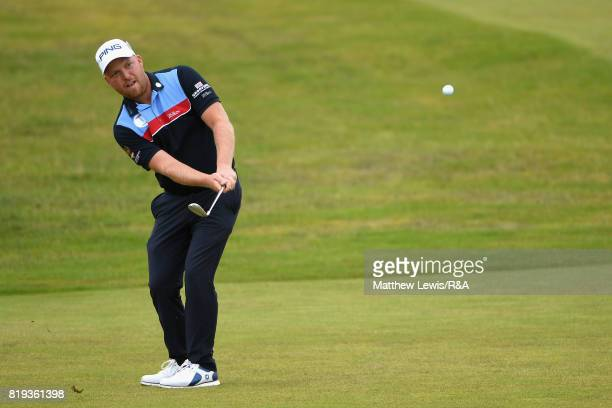 Adam Hodkinson of England chips to the 4th green during the first round of the 146th Open Championship at Royal Birkdale on July 20 2017 in Southport...