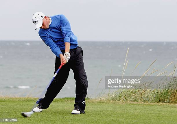 Adam Hodkinson of England tees off on the 17th hole during The Boys Home Internationals at Moray Golf Club on August 9 2006 in Lossiemouth Scotland