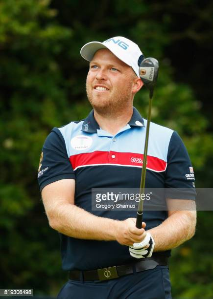 Adam Hodkinson of England tees off on the 5th hole during the first round of the 146th Open Championship at Royal Birkdale on July 20 2017 in...