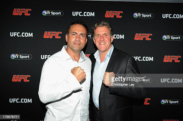 Adam Hollioake and Gary Cook at the Paramount Club during the Jon Jones and Alex Gustafsson Press Tour of London on August 3 2013 in London England