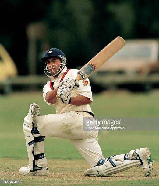 Adam Hollioake batting for England A against the Australian Cricket Academy at Mount Gambier on the 18th November 1996 England won the match by 7...