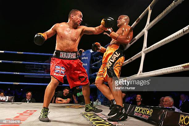 Adam HollioakeÊ fights Monty Beethan during Super8 Fight Night at Horncastle Arena on March 28 2015 in Christchurch New Zealand