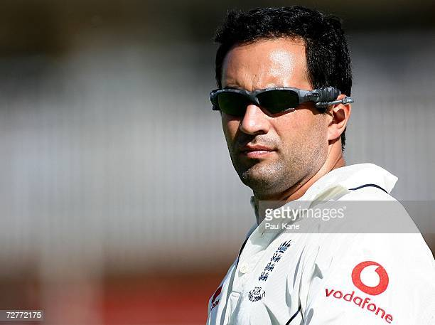 Adam Hollioake of England looks on in the outer while fielding during the England tour match between the CA Chairman's XI and England at Lilac Hill...