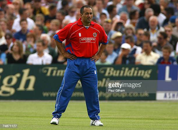 Adam Hollioake of Essex looks on during the Twenty20 Cup match between Kent and Essex at St Lawrence Cricket Ground on June 23 2007 in Canterbury...