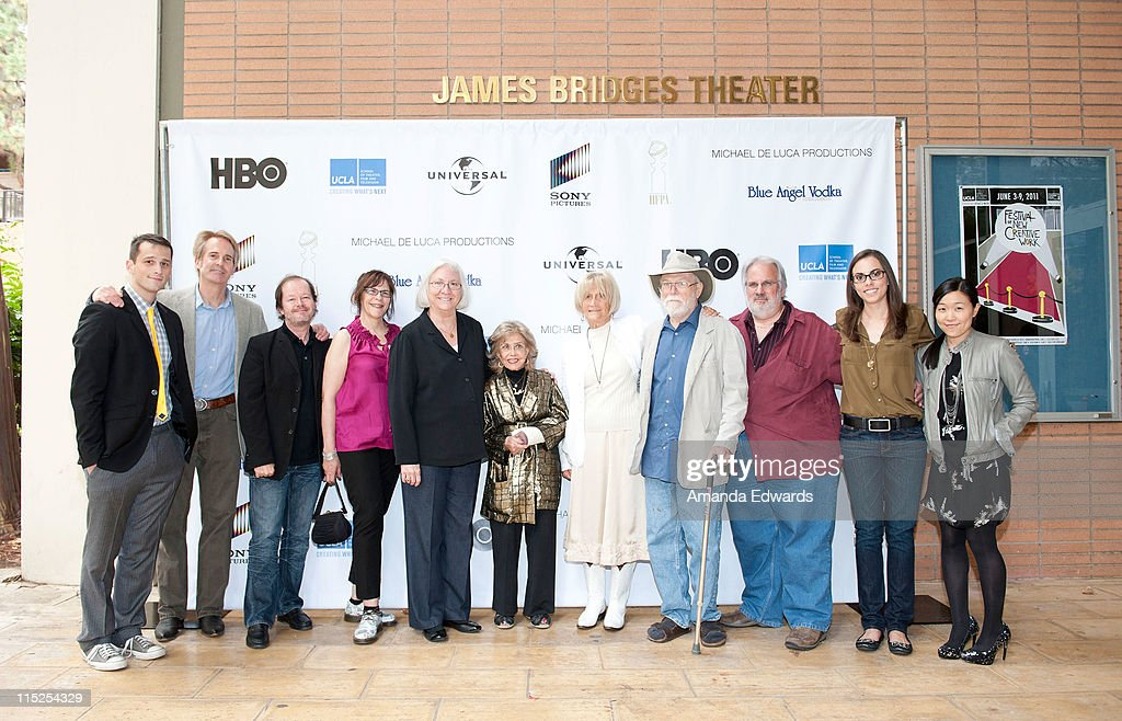 Adam Holmes, Doug Ward, Chuck Sheetz, Celia Mercer, Teri Schwartz, June Foray, Barbara Boyle, Dan McLaughlin, Myrl Schreibman, Alexis Block and Debra Chow arrive at the UCLA Animation Workshop Festival of Animation at the James Bridges Theater at Melnitz Hall on the UCLA campus on June 4, 2011 in Los Angeles, California.