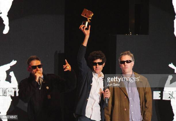 Adam Horovitz Mike Diamond and Adam Yauch of The Beastie Boys receive the Street Icon Award during the MTV Video Music Awards Japan 2009 at Saitama...