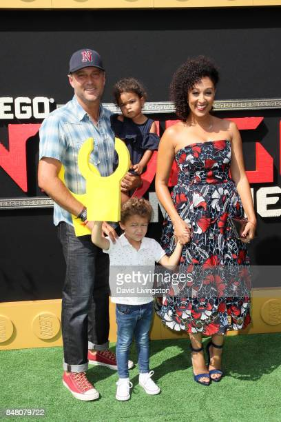 Adam Housley Ariah Talea Housley Aden John Tanner Housley and Tamera Mowry at the premiere of Warner Bros Pictures' 'The LEGO Ninjago Movie' at...
