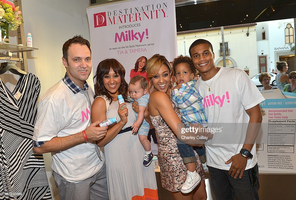 Adam Housley, Tamera Mowry with son Aden Housley, Tia Mowry with son Cree Mowry-Hardrict and Cory Hardrict attend the Milky! launch event at A Pea In The Pod on May 2, 2013 in Beverly Hills, California.
