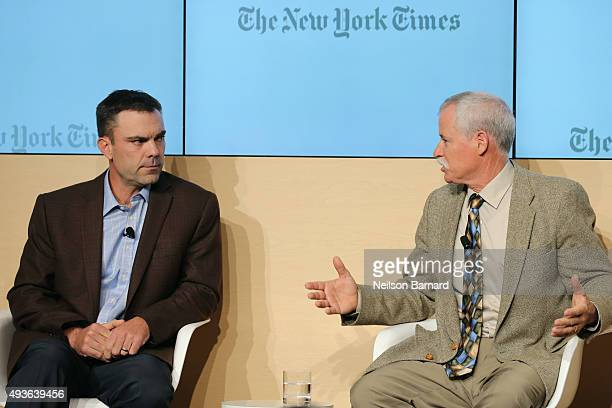 Adam Howell farmer Howell Farms and Bruce Rominger farmer Rominger Brothers Farms speak onstage at The New York Times Food For Tomorrow Conference...