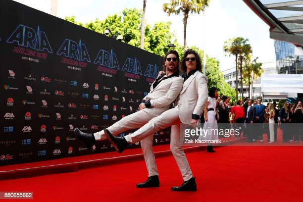 Adam Hyde and Reuben Styles of Peking Duck arrive for the 31st Annual ARIA Awards 2017 at The Star on November 28 2017 in Sydney Australia