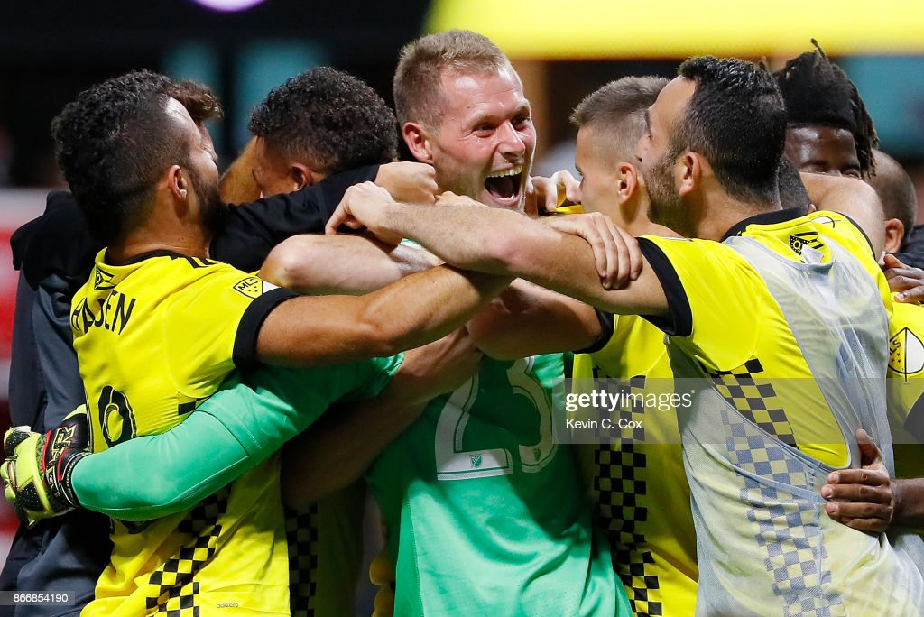 Adam Jahn #12 of Columbus Crew reacts after converting a penalty kick to give the Crew a win over the Atlanta United 3-1 on penalties during the Eastern Conference knockout round at Mercedes-Benz Stadium on October 26, 2017 in Atlanta, Georgia.